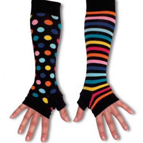 Ladies Girls Mis Match Long Arm Warmers Black