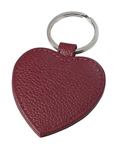 Love Heart Leather Key Ring Mulberry