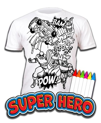 Splat Planet Colour In Children's T-Shirt - Super Heroes - Pens Included