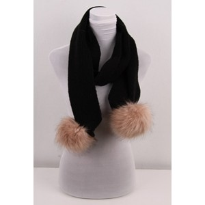 Black Ladies Scarf with Detachable Pompoms