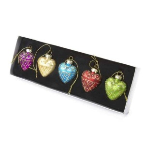 Set Of 5 Glass Multi Coloured Hearts