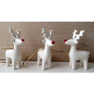 White Ceramic Reindeer Hanging Decoration with Red Nose