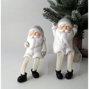 Set of 2 Sitting Santa with Fabric Legs