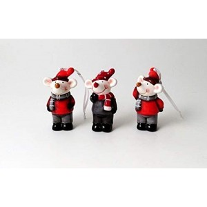 Set of 3 Assorted Christmas Mice Decorations