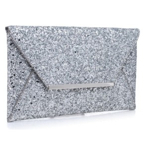 Bessie Evening Sparkling Clutch Bag in Silver