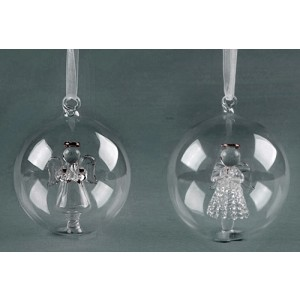 Clear Glass Christmas Angel Bauble