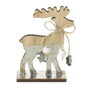 Wooden Reindeer With Decorative Bow - Christmas Decoration