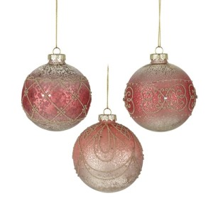 Set of 3 Glass Hanging Bauble Pink