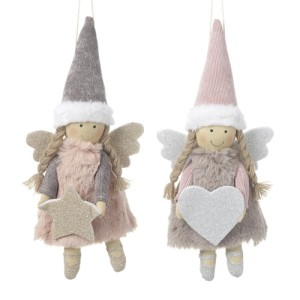 Pink & Grey Fabric Hanging Pink Angels - Stars & Hearts