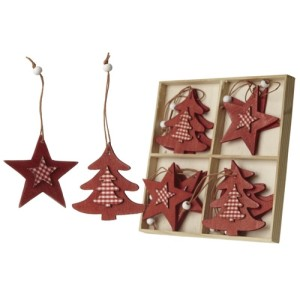 Set of 12 Red Star And Tree Hangers