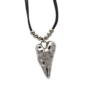 Long Heart Pendant Necklace with Diamonte
