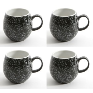 Gloss Black Flecked London Pottery Pebble Mugs Set of 4