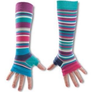 Ladies Girls Mis Match Long Arm Warmers Blue Stripes