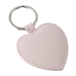 Love Heart Leather Key Ring Rose