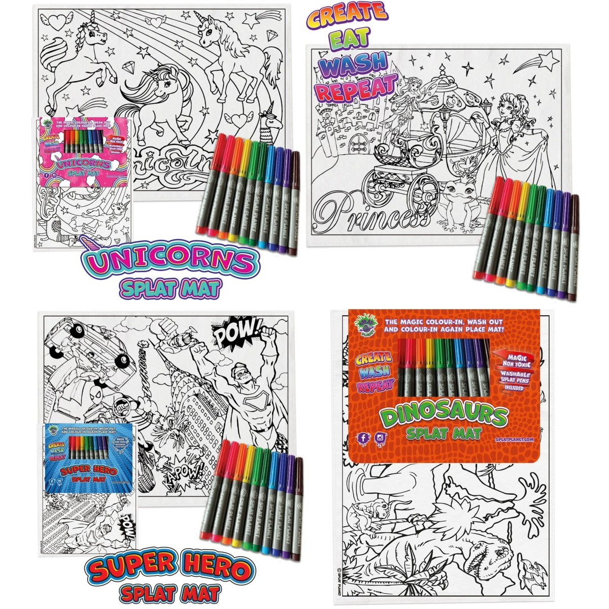 Wash Out Splat Mat with Pens Various Designs Colour Again Colour in