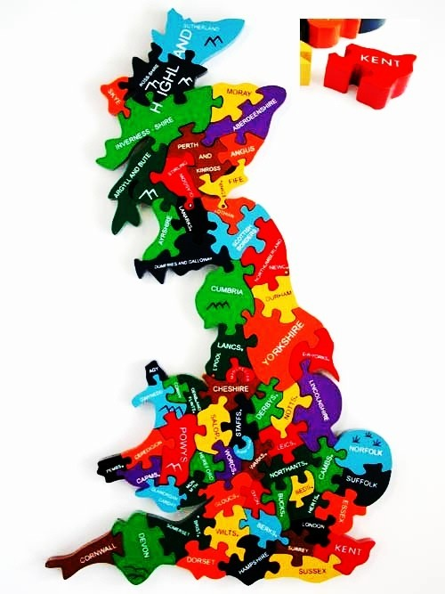 UK Counties Map Wooden Jigsaw
