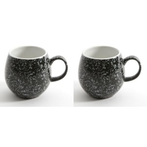 Gloss Black Flecked London Pottery Pebble Mugs Set of 2