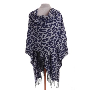 Luxury Animal Print Wrap / Scarf by Zelly - Navy
