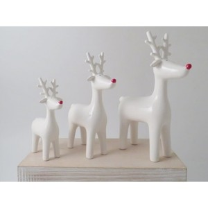 Medium White Ceramic Ceramic Reindeer with Red Nose
