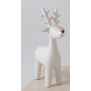 Small White Ceramic Ceramic Reindeer with Red Nose