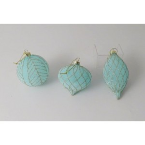 Set of 3 Frosted Turquoise Bauble with Gold Glitter Detail