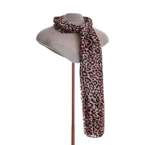 Animal Print Scarf in Pink & Black