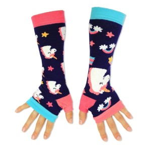 Ladies Girls Mis Match Long Arm Warmers Unicorn