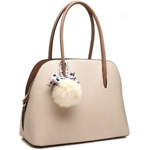 Bessie 2 Tone Beige/Brown Shoulder Bag with Detachable Pom Pom