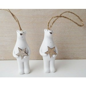 Small White Polar Bear Christmas Tree Decoration