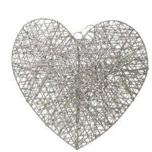 Silver Wire Heart Christmas Hanging Decoration With Led Lights