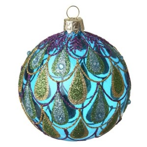 Blue Glass Peacock Christmas Bauble