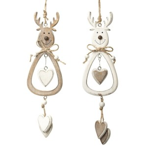 Rustic Hanging Wooden Reindeer with Hearts