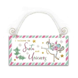 Unicorn And Santa Wooden Sign