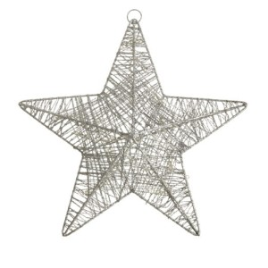 Silver Wire Star Christmas Hanging Decoration With Led Lights