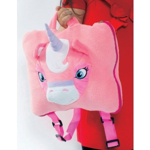 Cozy fleece Unicorn Backpack / Carry Bag with Blanket
