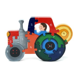 Tractor Number 1-10 Wooden Jigsaw