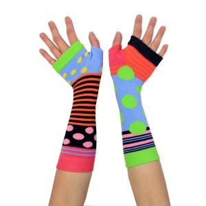 Ladies Girls Mis Match Long Arm Warmers Multi Coloured Spots & Stripes
