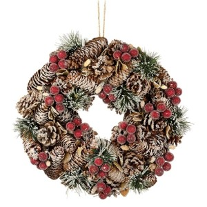 Small Rattan Pine Cone And Berry Wreath
